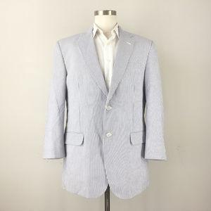 Jos A Bank 42 R Seersucker Blazer Sport Coat Stays